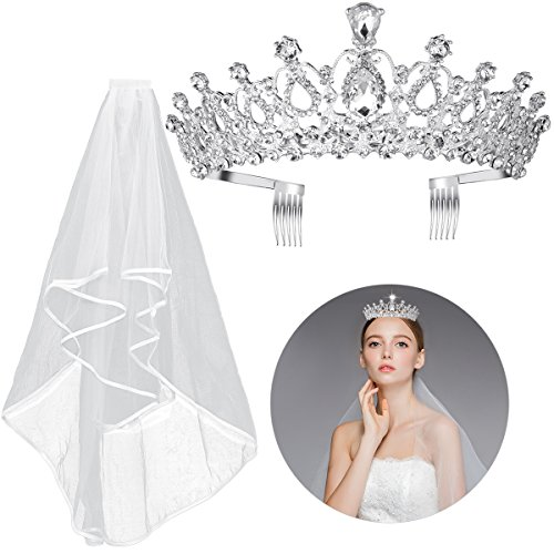2PCS Frcolor Rhinestone Tiara Crown Veil With Comb Elegant Design Rhinestone Ribbon Comb Crown Communion Veil