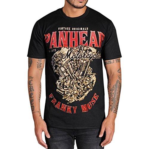 PANHEAD Harley Davidson Engine Vintage MOTORCYCLE BIKER Mens Black T-Shirt (Small)