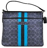 Coach Women's Varsity Stripe File Crossbody Bag Handbag (Demin/Black)
