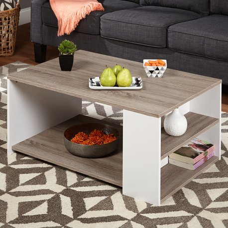 Simple Living Urban 3-Shelves Coffee Table Particle Board/ PVC Laminated with Reclaimed Look White/ Sonoma Oak Finish - Pvc Laminated