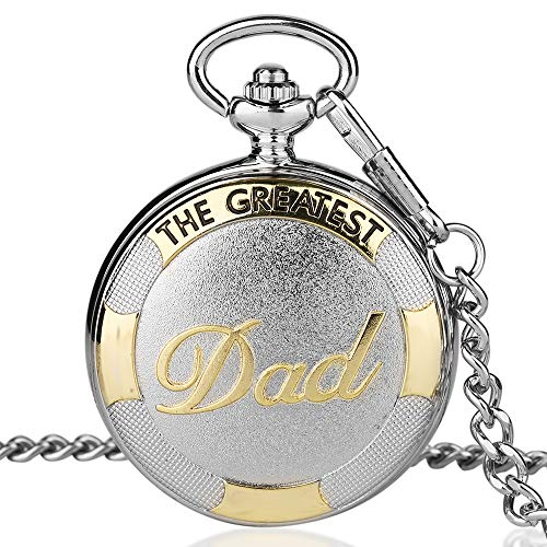 Creative Dad Father's Day Pocket Watch Pendant Chain Roman Numerals Quartz Silver Chain Clock Gift Set Box