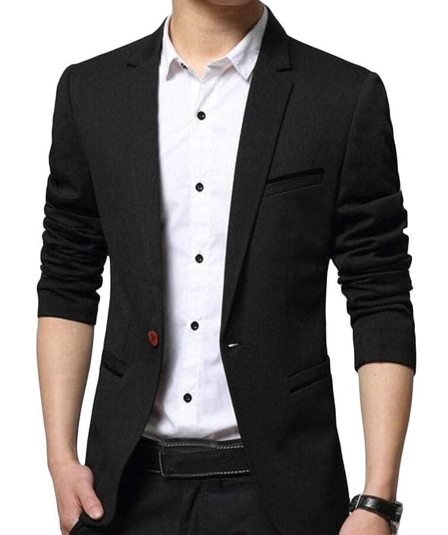 Mens Blazer Long Sleeves Lapel Collar One Button Slim Sport Coat