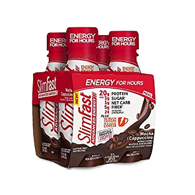 Slim Fast Advanced Meal Replacement Shake, Cafe, Mocha Cappuccino, 11 oz Bottle, 4 Count