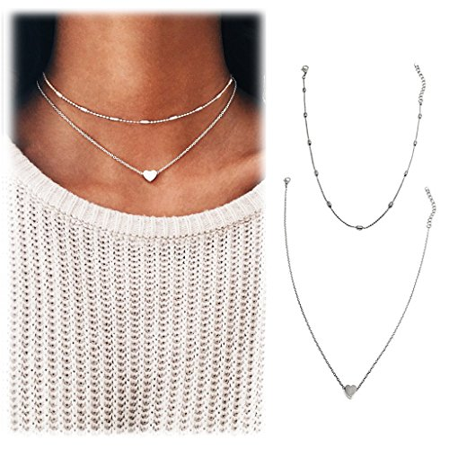 Wowanoo Choker Necklace Set Multilayer Simple Layers Chain Heart Clavicle Necklace Jewelry for Women TwoS
