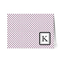Note Card Café Monogram Plum 'K' Letter Cards | Grey Envelopes | 24 Pack | Blank Inside, Glossy Finish | Modern Dots Design |Bulk Set | Stationery, Personalized Greeting, Thank You