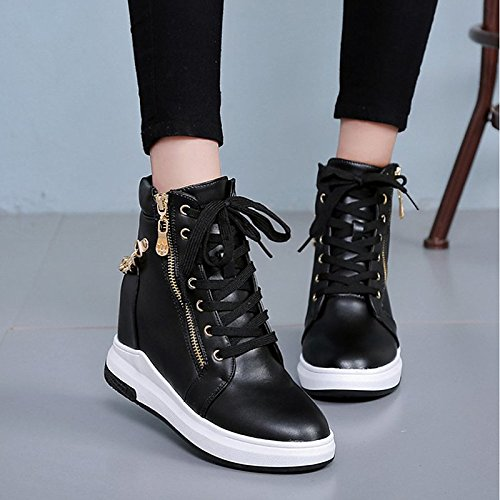 White Boots Casual White for Shoes Boots Black Winter Mid Toe Combat Round Boots HSXZ Women's Heel Calf ZHZNVX PU Flat 0wHTTa