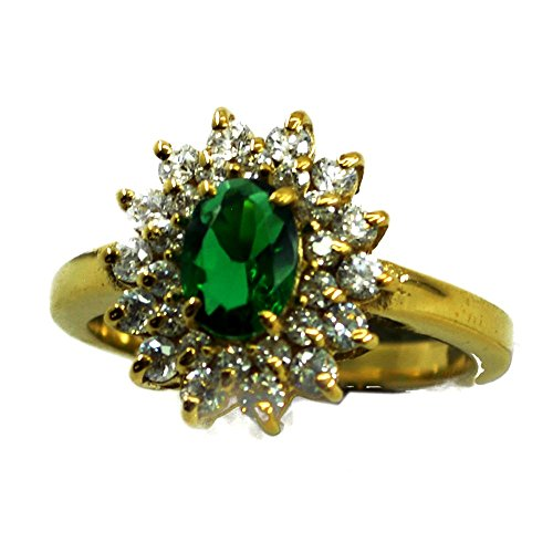 (55Carat Emerald CZ Gold Plated Ring for Women Round Shape Fashion Birthstone Satement Size)