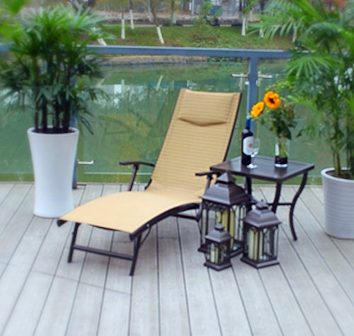 1 Rust Proof Aluminum Adjustable Quick Dry Chaise Folding Lounger - (Aluminum Chairs Rust Proof)