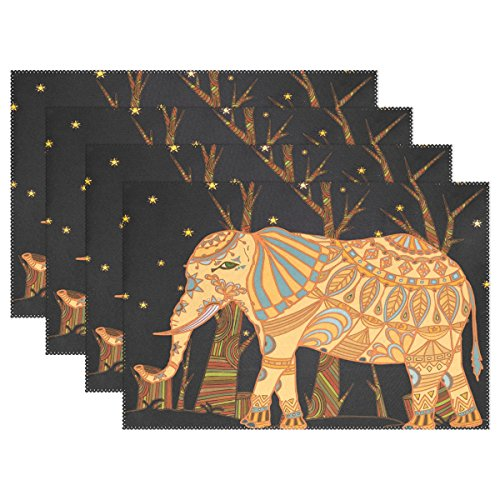 Indian Elephants Ethnic Place Mat Table Mat for Kitchen Dining Room Heat Insulation Anti-skid Ho ...