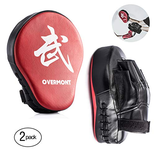 Overmont 2PCS Curved Punch Mitts Punching Mitts Boxing Pads Boxing Glove Target pad with foaming Materials for Karate Kickboxing Muaythai MMA Martial Art UFC Brazilian Jiu Jitsu Kick Boxing Practice (Boxing Material)