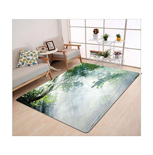 Kisscase Custom Carpet Rainforest Decorations Sunbeam Between Shadows Of Trees Idyllic Scenery Of Solitude In Jungle Theme Decor Green