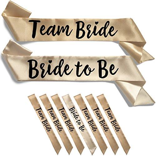 1 Ss Silver Satin (Team Bride 7pc Satin Sash Set - Sophisticated & Fun Party Favors for Bachelorette Party, Bridal Shower & Wedding Party (7pc Set, Light & Deep Champagne))