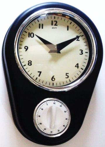 Unity Abcott Kitchen Cooking Countdown Timer Wall Clock, 8.5-Inch, Black