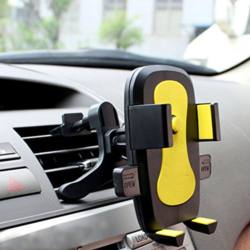 Universal Air VentPhone Car,iBarbe Smartphone Car Air Vent Mount Holder Cradle Compatible iPhone X 8 8 Plus 7 7 Plus SE 6s 6 Plus 6 5s 5 4s 4 Samsung Galaxy S6 S5 S4 LG Nokia More-Yellow