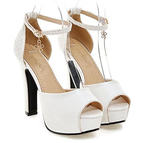 TAOFFEN Women's High Heel Sandals Shoes White-06 SCSDt6Oak