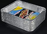 "Durable Foil Aluminum Steam Table Pans, Half-Size, Deep, 12-3/4'' Length x 10-3/8"" Width x 2-9/16'' Depth (5 Bags of 20)"