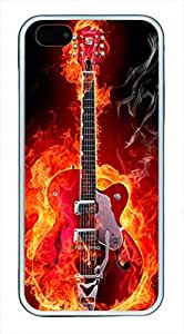 E-luckiycase TPU Supple Shell Guitar on Fire with White Edges Skin for Iphone 5 5s Case