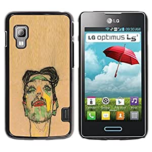 GOODTHINGS Funda Imagen Diseño Carcasa Tapa Trasera Negro Cover Skin Case para LG Optimus L5 II Dual E455 E460 - artista pintura dibujo retrato marrón