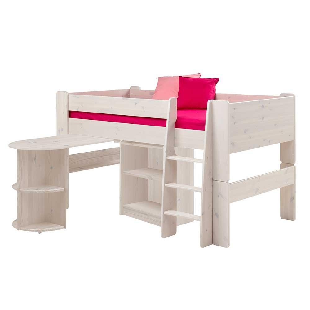 Pharao24 Halbhohes Hochbett mit Schreibtisch Weiß
