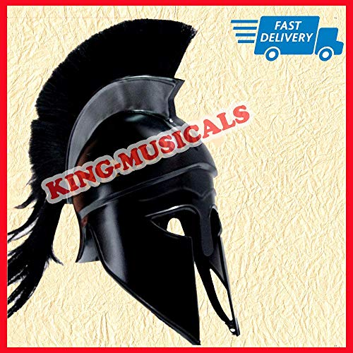 Gladiator Helm (VALANTINES DAY Greek Corinthian Helmet with Black Plume, Medieval Gladiator Knight Spartan Helm)