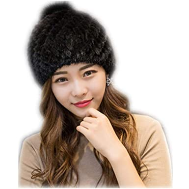 4b2f1632b00cf MH Bailment Womens Winter Hat Knitted Mink Fur Hats Fox Ball (One ...