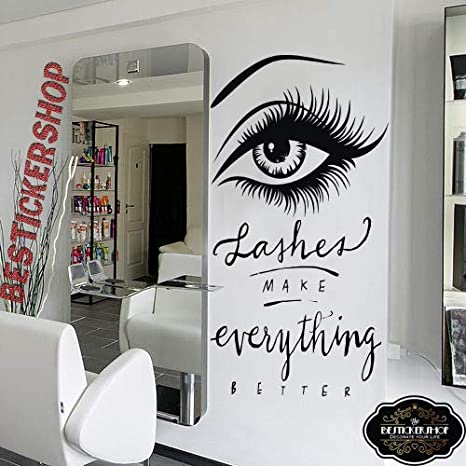 Amazon Com Lashes Make Everything Better Eyelash Vinyl Wall Sticker Decor Peel And Stick Wall Decals Birthday Christmas Gifts For Boys Girls Kids Bedroom Living Room Decor Women Room Home Deco Arts Crafts