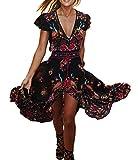 R.Vivimos Women Summer Deep V Neck Long Dresses Large