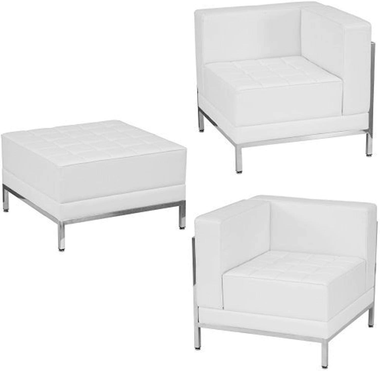 Flash Furniture HERCULES Imagination Series Melrose White Leather 4 Piece Chair & Ottoman Set