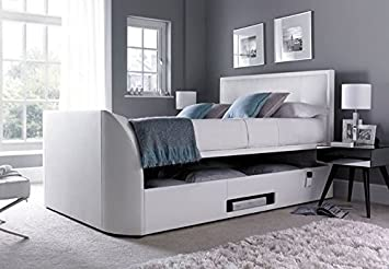 King Size White Leather Ottoman Storage Tv Bed Frame Only Amazon