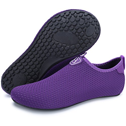 Barerun Barefoot Quick-Dry Water Sports Shoes Aqua Socks for Swim Beach Pool Surf Yoga for Women Men (L(W:8.5-9.5,M:7-7.5), Dark Purple)