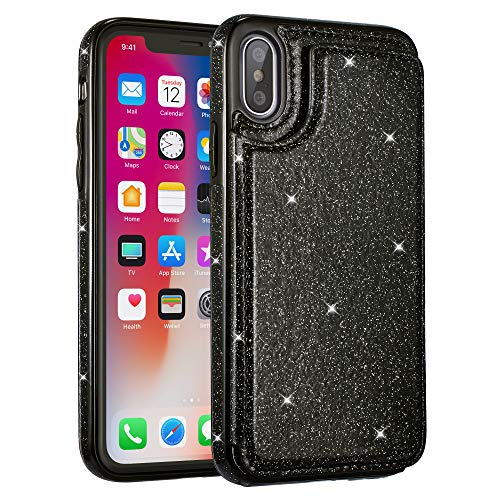 UEEBAI Case for iPhone Xs Max, Premium Glitter PU Leather Case Back Wallet Cover [Two Magnetic Clasp] [Card Slots] Stand Function Durable Shockproof Soft TPU Case for iPhone Xs Max - Black#2