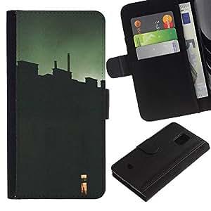All Phone Most Case / Oferta Especial Cáscara Funda de cuero Monedero Cubierta de proteccion Caso / Wallet Case for Samsung Galaxy S5 Mini, SM-G800 // Green Window Deep Meaning