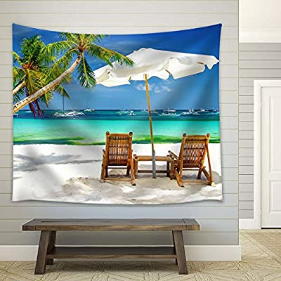 Palm Tree on Tropical Beach with Beach Chairs - Tapestry