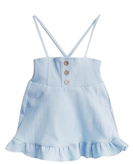 EOZY Vestido Peto Jean niña niño falda évasé Denim traje verano ...