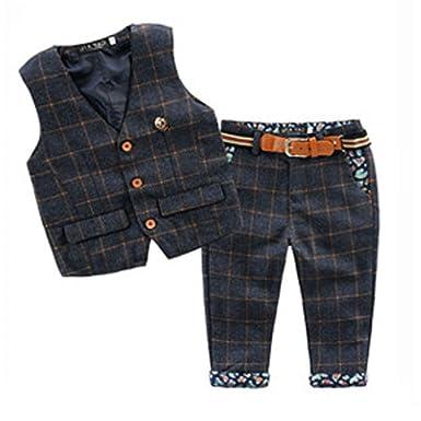 3ec1c55b228df ARAUS Bébé Enfants Garçon 2PC Ensembles Costume Gilet de Marée Style  Britannique +Jean Pantalon Manche