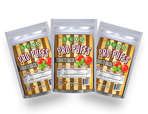 Pro-PuffsTM Tomato Basil | 21g Protein – 3g Carbs | High Protein Puffs | Low Carb, Keto Friendly, Gluten Free, Soy Free, Peanut Free | (Tomato Basil, 3 Pack)