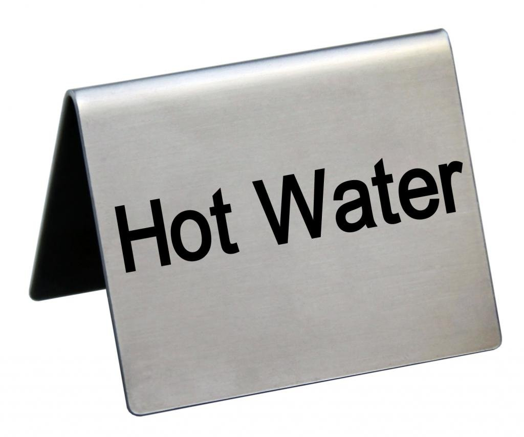 """New Star Foodservice 27136 Stainless Steel Table Tent Sign,""""Hot Water"""", 1.5"""" x 2"""", Set of 2"""