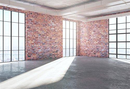 AOFOTO 7x5ft Business Office French Sash Window Backdrop Indoor Casement Brick Wall Photography Background Cement Floor Work Modern Flat Apartment Photo Studio Props Success Job Man Vinyl Wallpaper