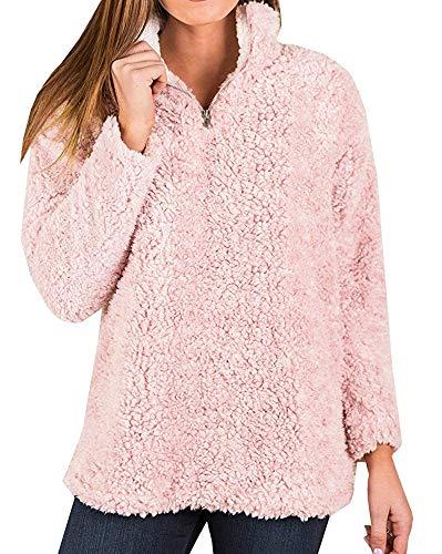 Runcati Womens Sherpa 1/4 Zip Pullover Sweatshirts Fuzzy Fleece Quarter Cozy Warm Long Sleeve Tops Pink
