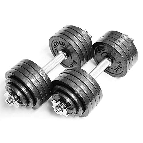 Omnie 105 LBS Adjustable Dumbbells with Gloss Finish and Secure Fit Collars for Crossfit WOD...