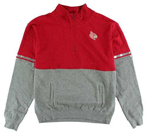 Colosseum Womens Louisville Cardinals Rudy Quarter Zip Sweater Red ()