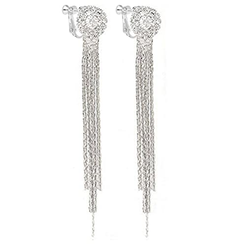Latigerf Silver-tone Long Tassel Back Non-Pierced Clip on Earring Clips for non Pierced Ears bKNFhYeme
