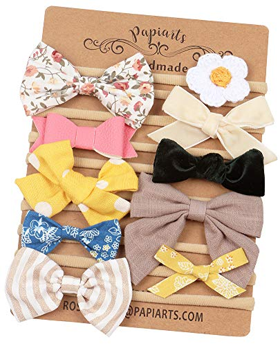 Baby Girl Headbands with Bows, Assorted 10 Packs of Hair Accessories for Newborn Toddler Girls