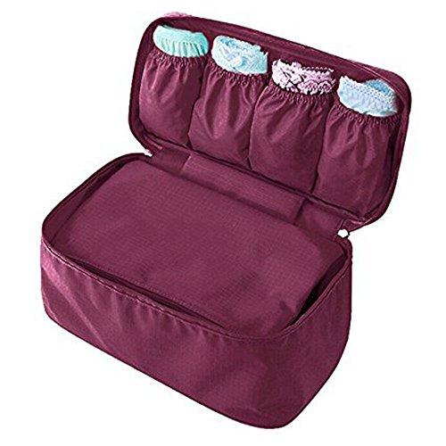 Toyoo Fashion Portable Multi-Functional Travel Organizer Cosmetic Make-up Bag Luggage Storage Case Bra Underwear Pouch (Wine)