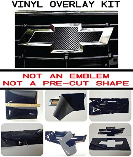 Chevy Bowtie Emblem Overlay Kits, Silverado, Colorado, Suburban, More- 3M Black Carbon Fiber (Chevy Malibu Bowtie Overlay)