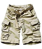 FOURSTEEDS Women's Cotton Butt Lift Multi-Pockets Camouflage Casual Twill Bermuda Cargo Shorts with Belt Light Khaki US 8