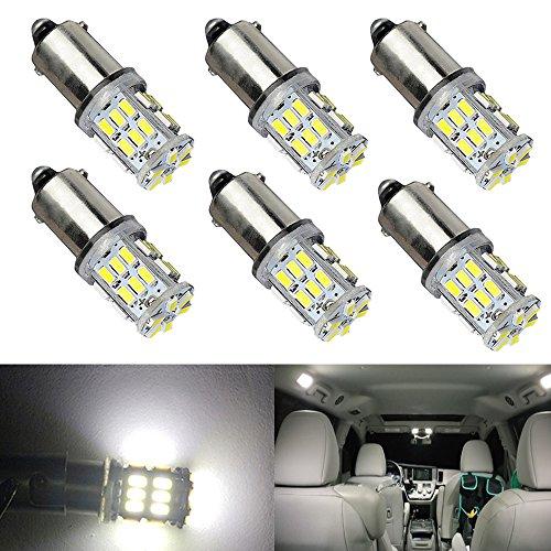 BlyilyB BA9S 3014 30SMD 6000K White BA9 BA9S 53 57 1445 17053 LED Bulbs Side Door Courtesy Lights Cargo Lights Gauge Lights (Pack of 6)
