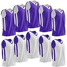 Liberty Imports 10 Pack - Reversible Men's Mesh Athletic Team Basketball Jerseys Sports Bulk