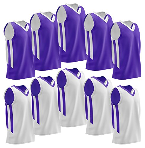 Liberty Imports 10 Pack - Reversible Men's Mesh Performance Athletic Basketball Jerseys - Adult Team Sports Bulk ()