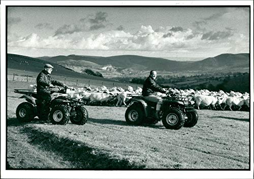 Vintage photo of John langley riders high on a Yamaha all terrain vehicle in wales.